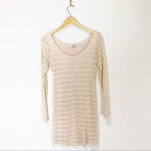 Forever 21 Cream Lace Long Sleeve Dress